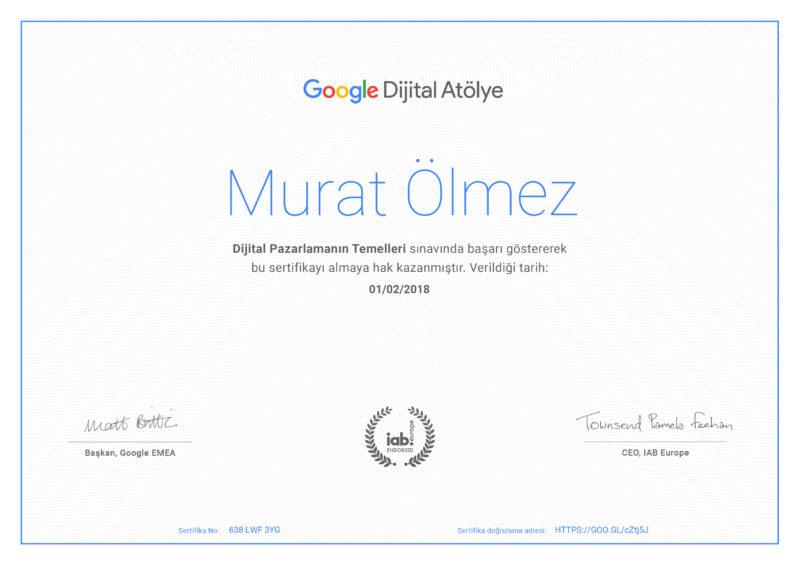 Google Dijital Atölye Sertifika